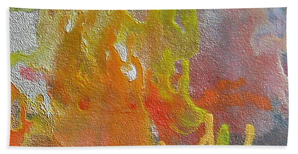 Abstract Encaustic Painting Hand Towel featuring the painting W 052 by Dragica Micki Fortuna