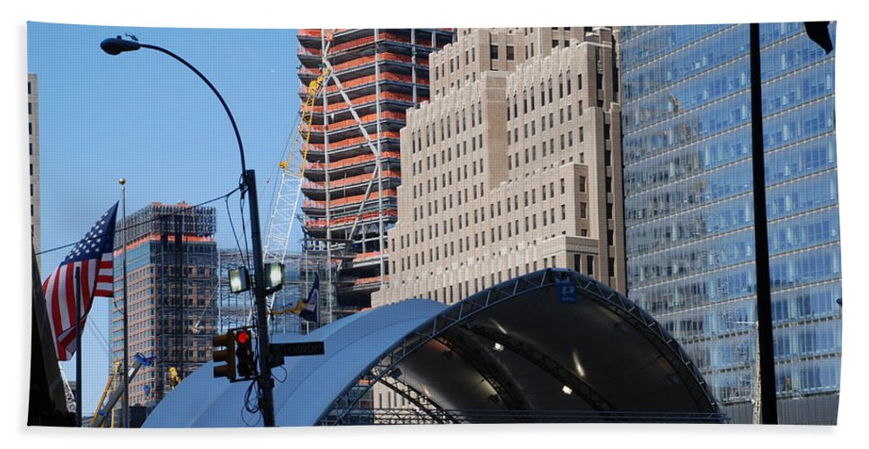 Street Scene Bath Towel featuring the photograph W T C Path Station by Rob Hans