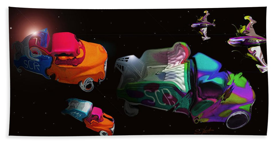 Trucks Hand Towel featuring the painting Wagon Train To The Stars 3 by Charles Stuart