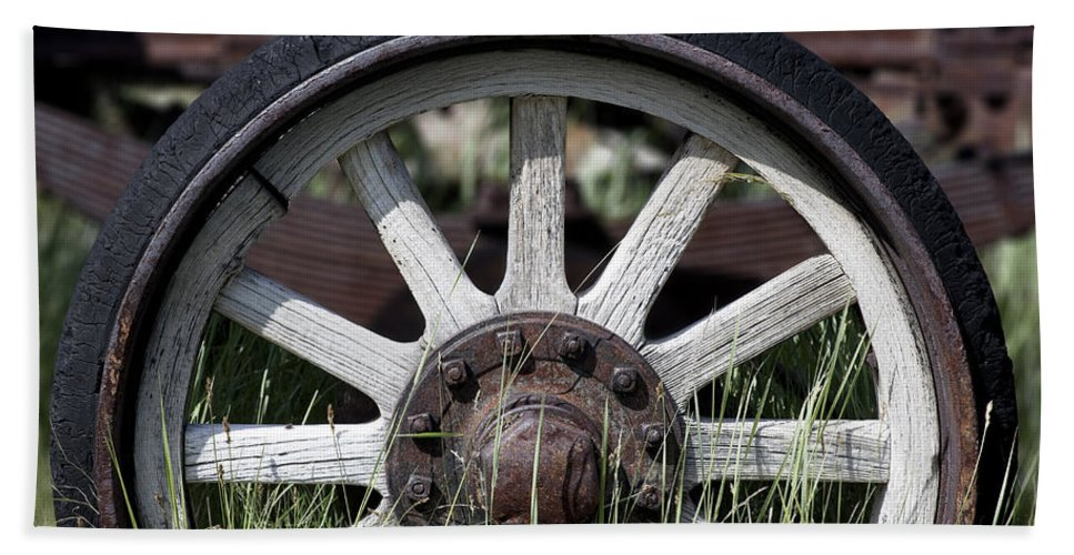 Old West Bath Sheet featuring the photograph Wagon Wheel by Kelley King