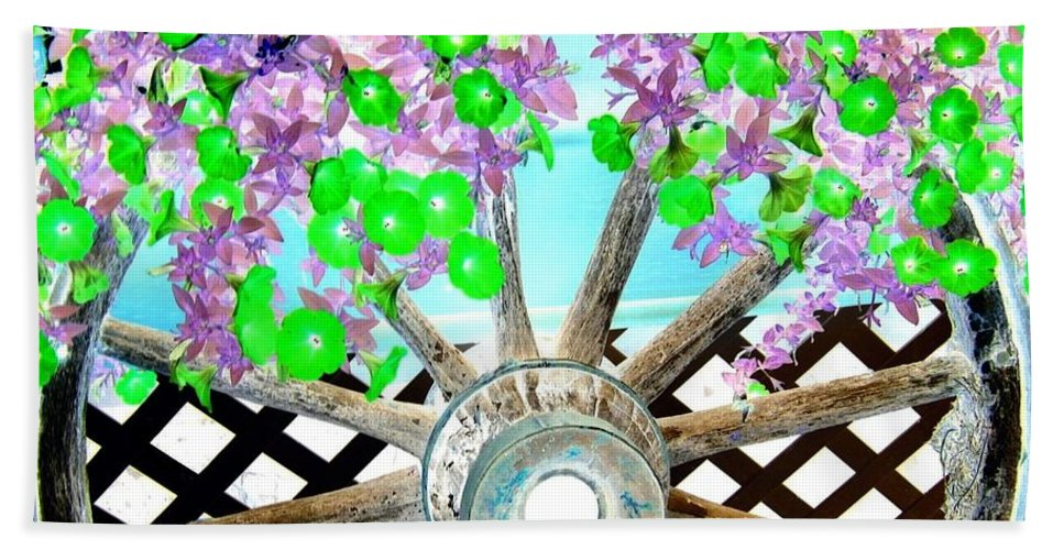 Wagon Wheel Hand Towel featuring the digital art Wagon Wheel by Will Borden