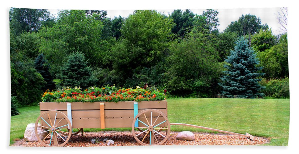 Flower Pictures Hand Towel featuring the painting Wagon With Flowers by Corey Ford