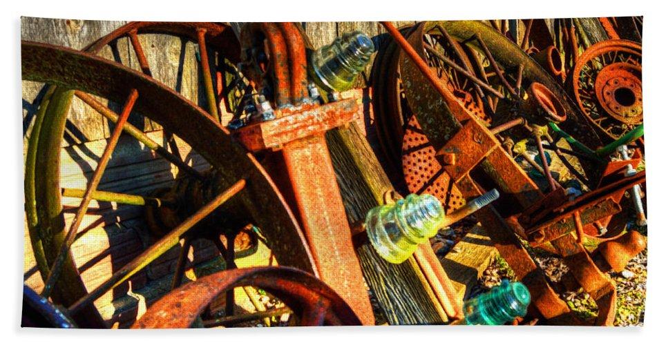 Wagon Wheels Bath Sheet featuring the photograph Wagons Whoa by Darin Williams