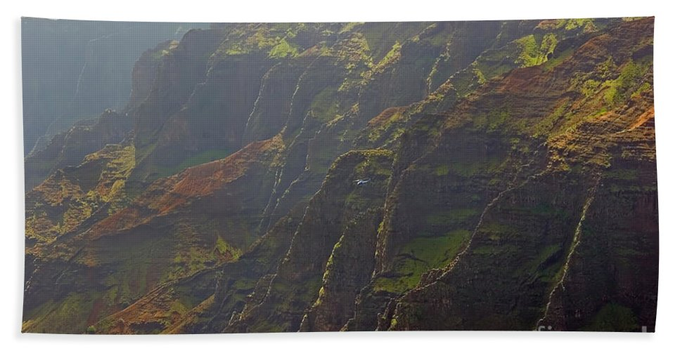 Landscape Hand Towel featuring the photograph Waimea Canyon On A Misty Day In Kauai by Louise Heusinkveld