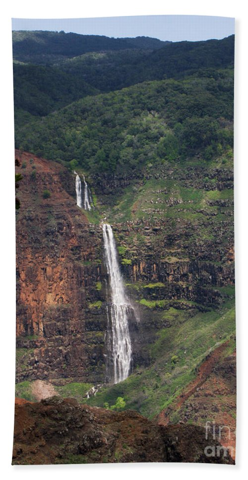 Phil Welsher Hand Towel featuring the photograph Waimea Canyon Waterfall by Phil Welsher