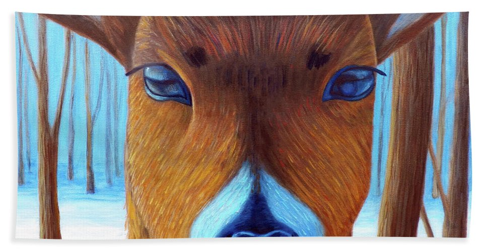 Deer Bath Towel featuring the painting Wait For The Magic by Brian Commerford