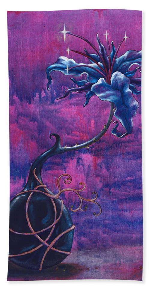 Lily Bath Towel featuring the painting Waiting Flower by Jennifer McDuffie