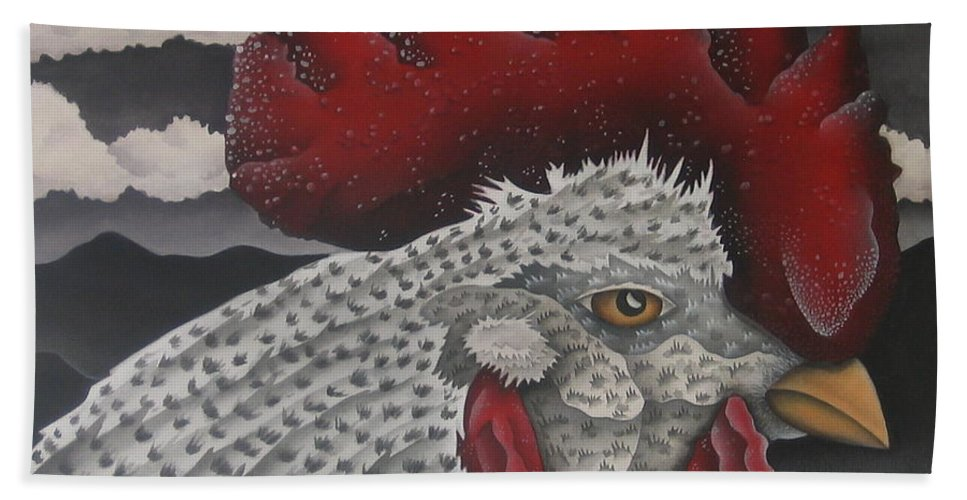 Rooster Bath Sheet featuring the painting Waiting For Daybreak by Jeniffer Stapher-Thomas
