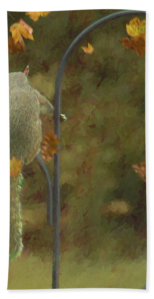 Squirrel Bath Sheet featuring the photograph Waiting For Friends by Ericamaxine Price