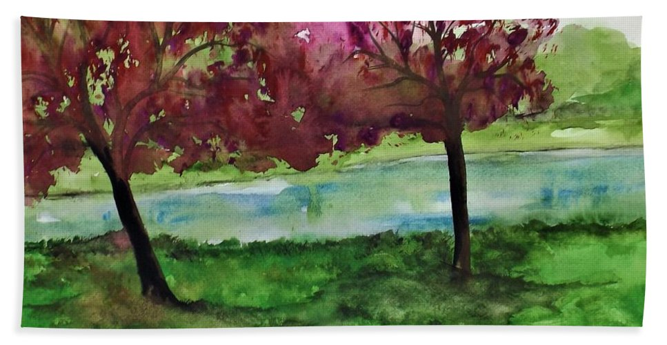 Landscape Bath Sheet featuring the painting Waiting For Friends by Lisa Aerts