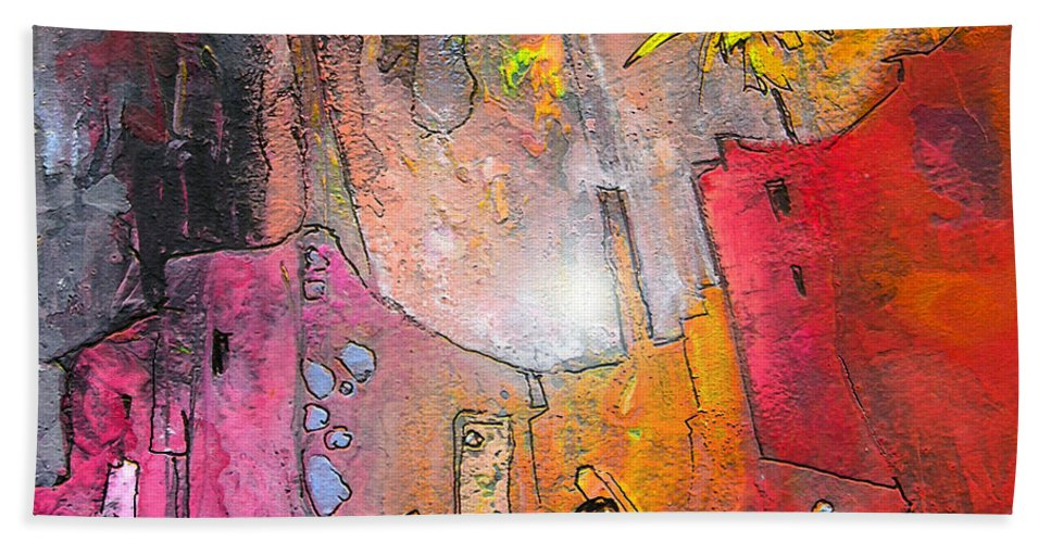 Acrylics Hand Towel featuring the painting Waiting For Godot by Miki De Goodaboom