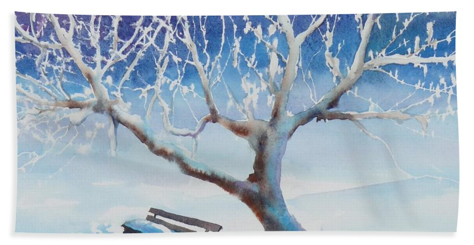 Snow Hand Towel featuring the painting Waiting For Spring by Ruth Kamenev
