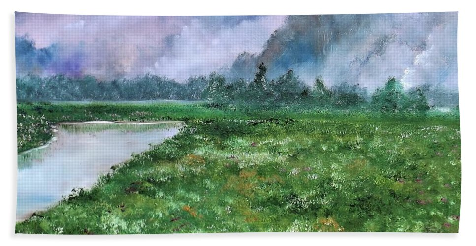 Landscape Bath Sheet featuring the painting Waiting For The Forecast by Lisa Aerts