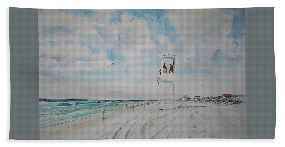 Ocean Bath Towel featuring the painting Waiting For The Lifeguard by Tom Harris