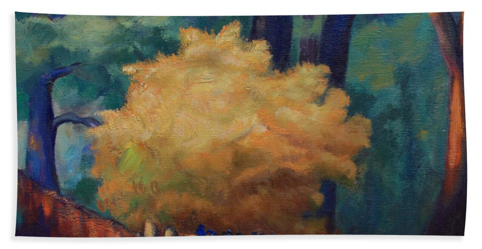 Trees Bath Sheet featuring the painting Waiting For The Sun by Maris Salmins