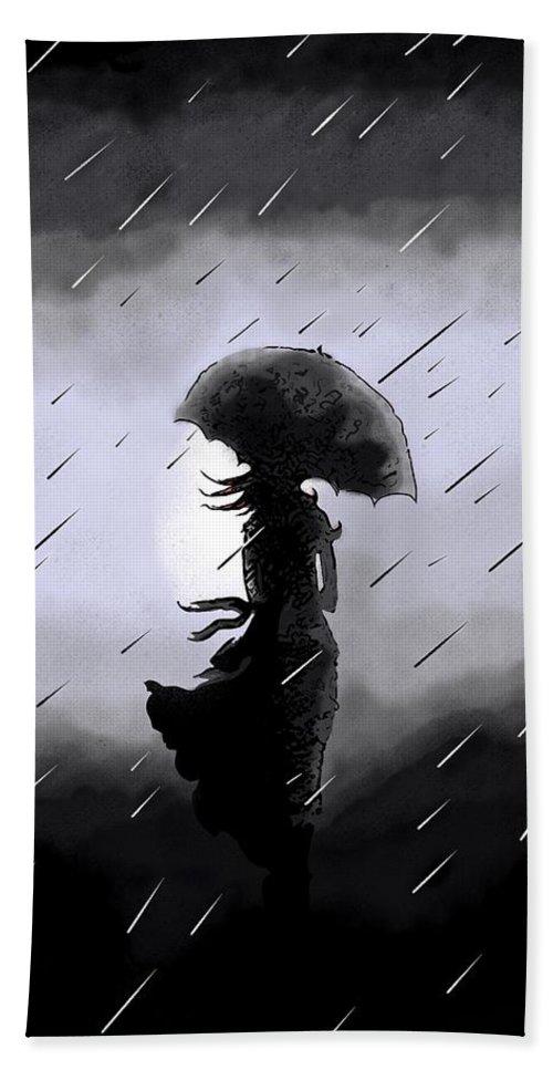 Rain Hand Towel featuring the digital art Waiting For Zen by Deborah Rolfe