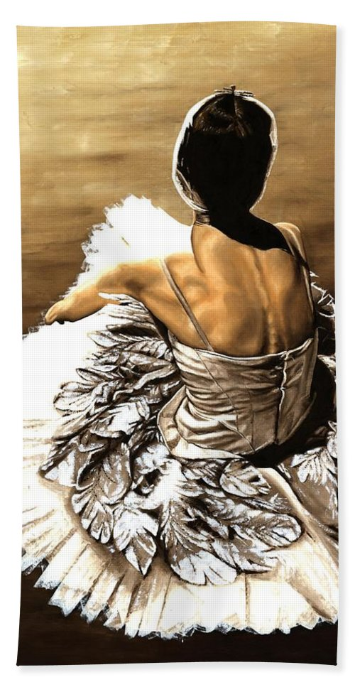 Ballet Bath Sheet featuring the painting Waiting In The Wings by Richard Young