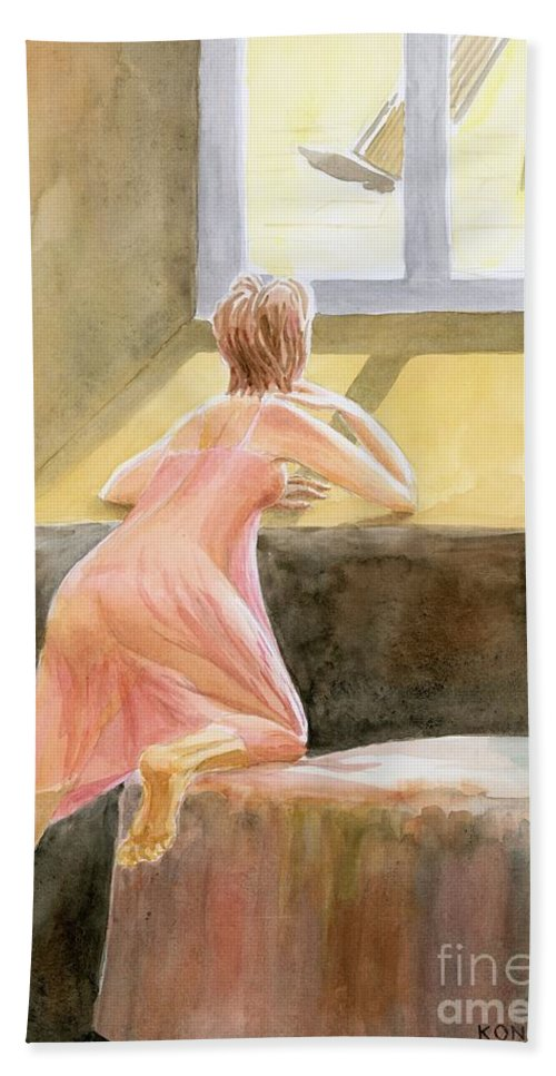 Girl Hand Towel featuring the painting Waiting by Oleg Konin
