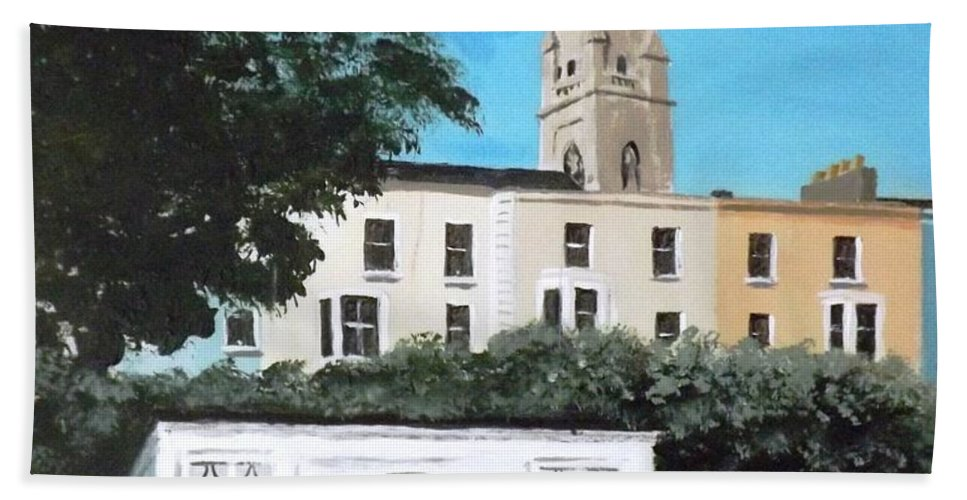 Dun Laoghaire Hand Towel featuring the painting Waiting Room, Dun Laoghaire by Tony Gunning