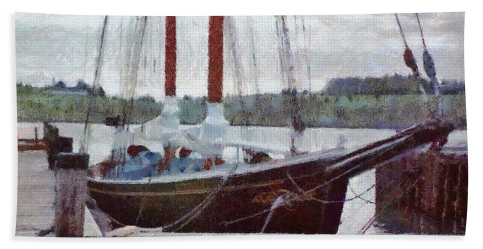 Canadian Bath Sheet featuring the painting Waiting To Sail by Jeffrey Kolker