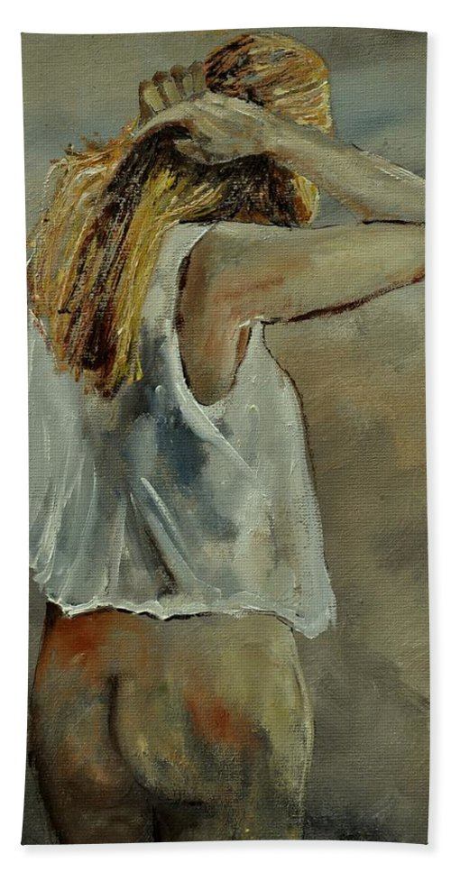 Nude Hand Towel featuring the painting Wake Up by Pol Ledent
