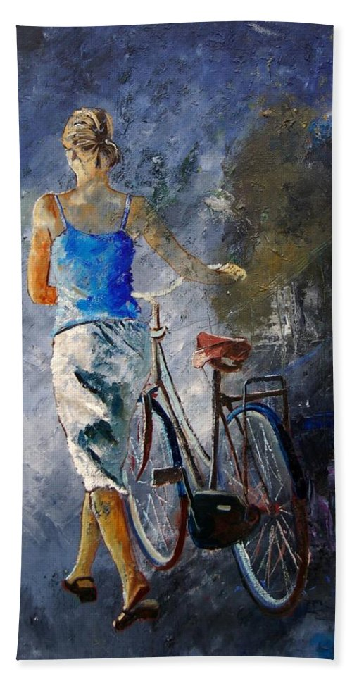 Girl Bath Sheet featuring the painting Waking Aside Her Bike 68 by Pol Ledent