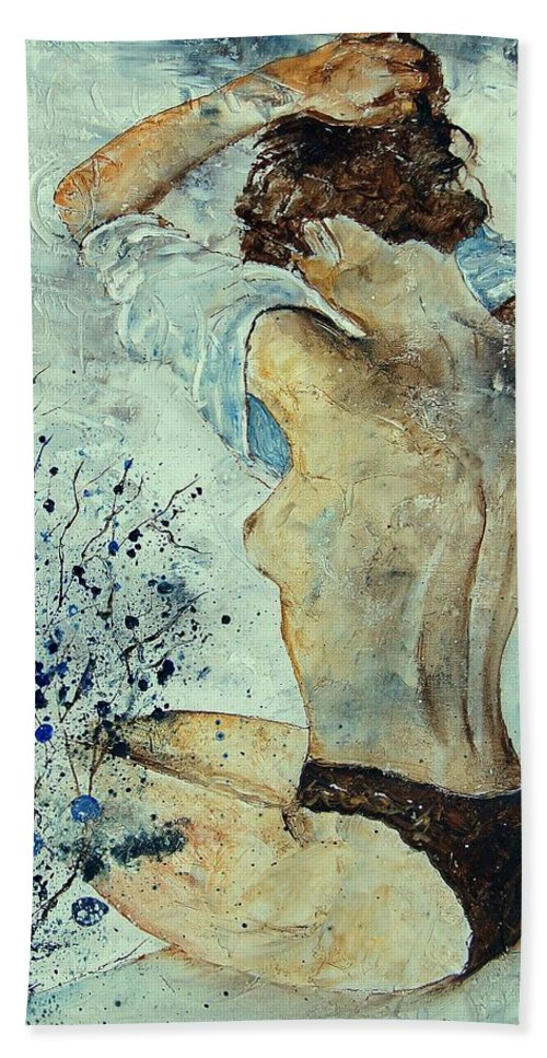 Nude Hand Towel featuring the painting Waking Up by Pol Ledent