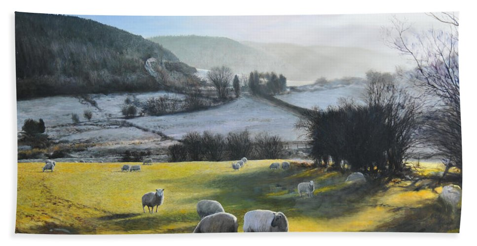 Wales Bath Sheet featuring the painting Wales. by Harry Robertson