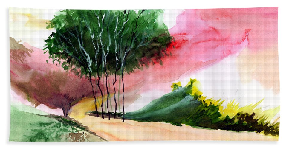 Watercolor Bath Sheet featuring the painting Walk Away by Anil Nene