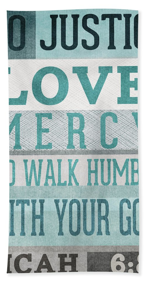Micah 6:8 Hand Towel featuring the mixed media Walk Humbly- Micah by Linda Woods