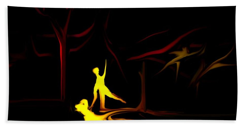 Abstract Digital Painting Hand Towel featuring the digital art Walk In The Dog Park by David Lane