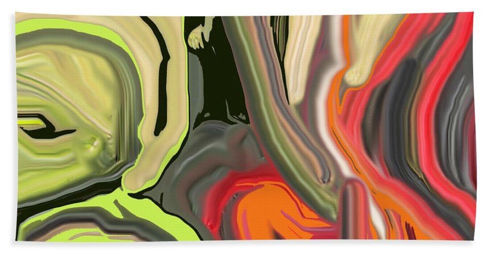 Abstract Bath Sheet featuring the digital art Walk In The Park by Ian MacDonald