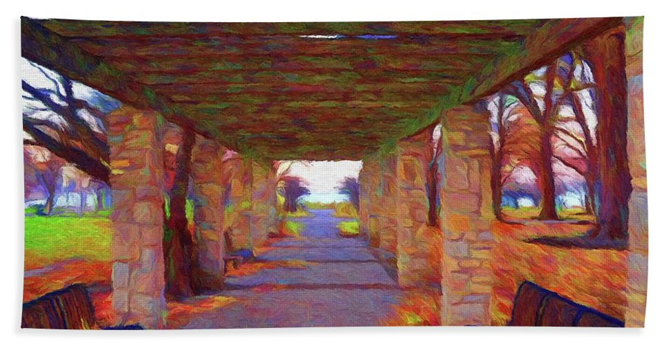 Autumn Hand Towel featuring the painting Walk In The Park by Jeffrey Kolker