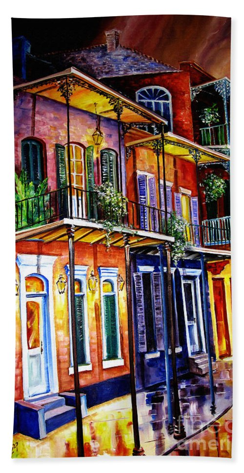 New Orleans Paintings Bath Sheet featuring the painting Walk Into The French Quarter by Diane Millsap
