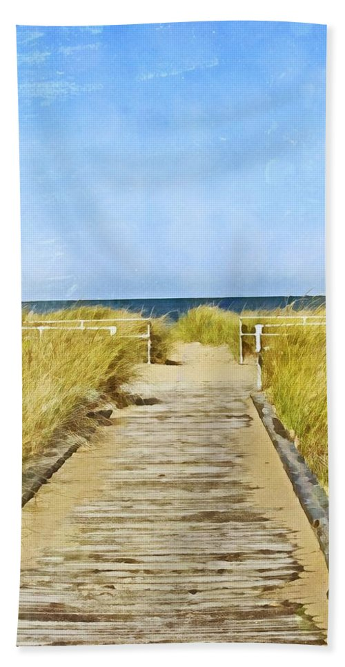 Beach Hand Towel featuring the digital art Walk To The Beach by Mary Pille