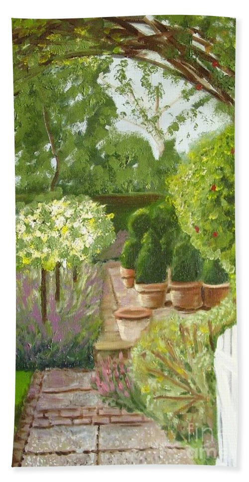 Garden Bath Towel featuring the painting Walk With Me by Laurie Morgan