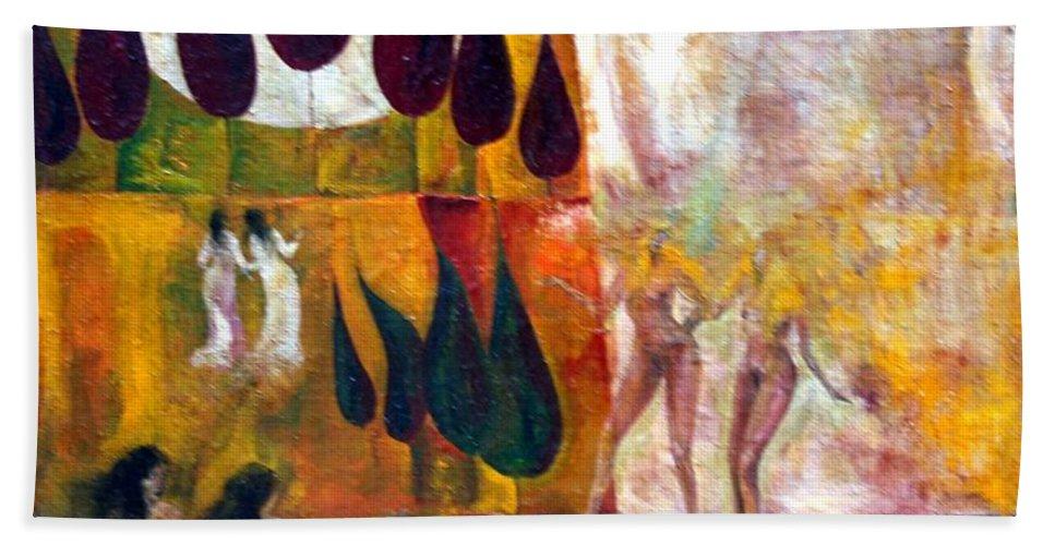 Colour Hand Towel featuring the painting Walk by Wojtek Kowalski