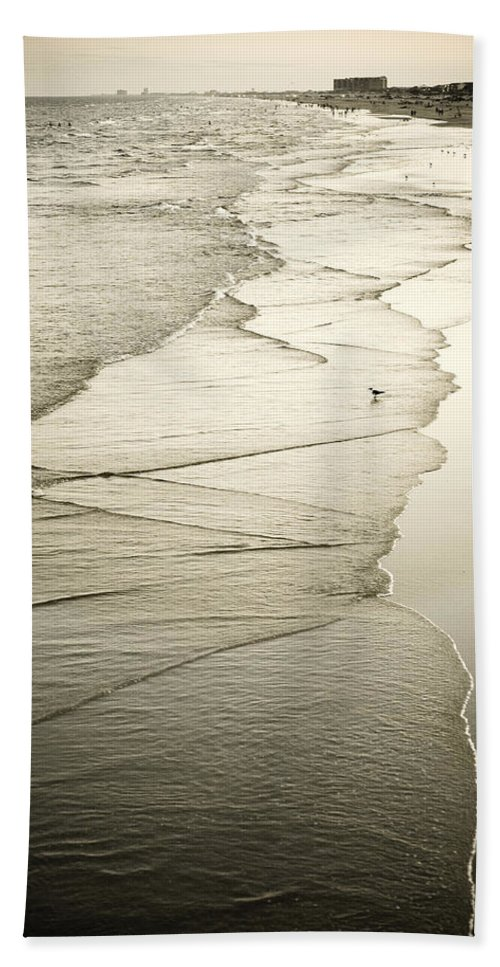 Ocean Bath Sheet featuring the photograph Walking Along The Beach At Sunrise by Marilyn Hunt