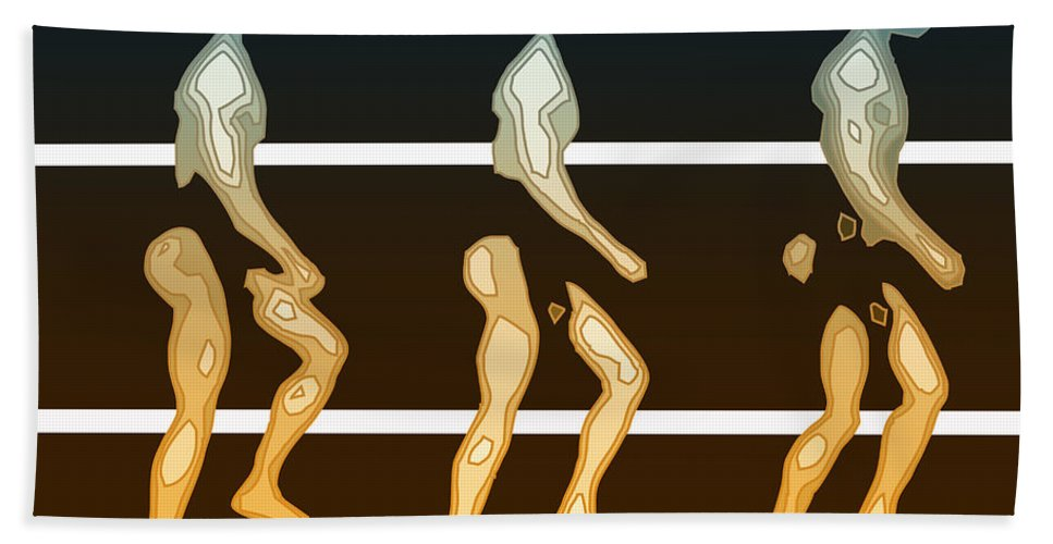 Abstract Hand Towel featuring the digital art Walking In Line by Joaquin Abella