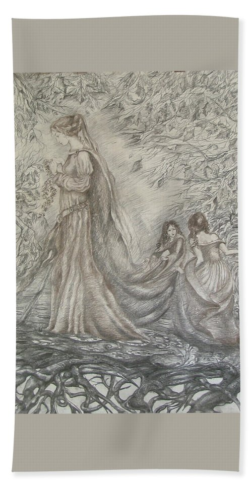 Woman Bath Towel featuring the drawing Walking In The Magic Garden by Rita Fetisov