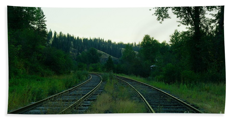 Ralroad Tracks Hand Towel featuring the photograph Walking Old Tracks by Jeff Swan