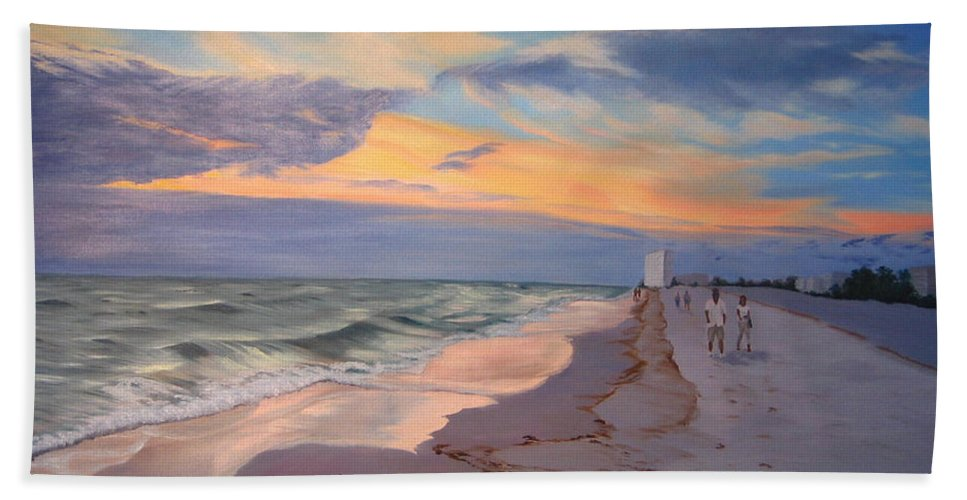 Seascape Bath Towel featuring the painting Walking On The Beach At Sunset by Lea Novak