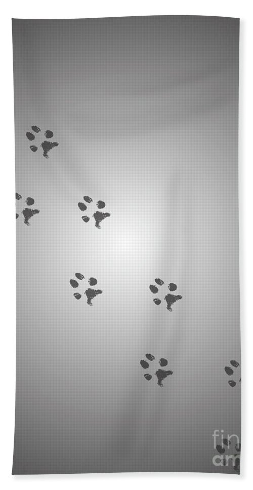 Walking Paws Hand Towel featuring the digital art Walking Paws - Grey by Raven Steel Design