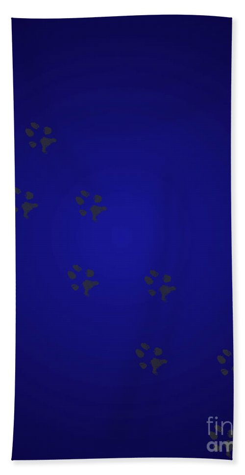 Walking Paws Hand Towel featuring the digital art Walking Paws - Royal Blue by Raven Steel Design