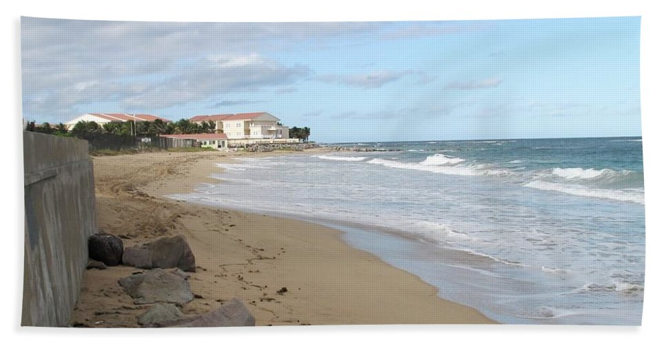 Clouds Hand Towel featuring the photograph Walking The Beach In St Kitts by Ian MacDonald