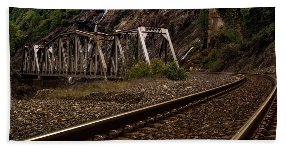 Michele James Photography Hand Towel featuring the photograph Walking The Tracks by Michele James