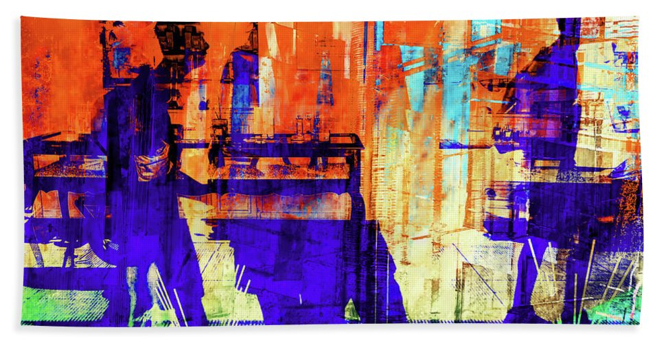 People Bath Sheet featuring the digital art Walking Through The City by Gabi Hampe