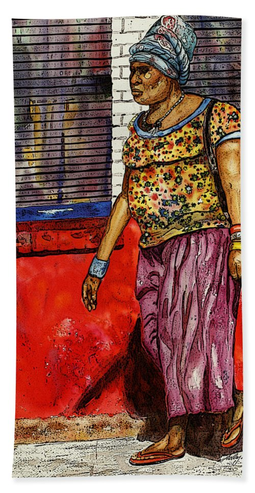 South Georgia Hand Towel featuring the painting Walking To The Library by Shirley Sykes Bracken