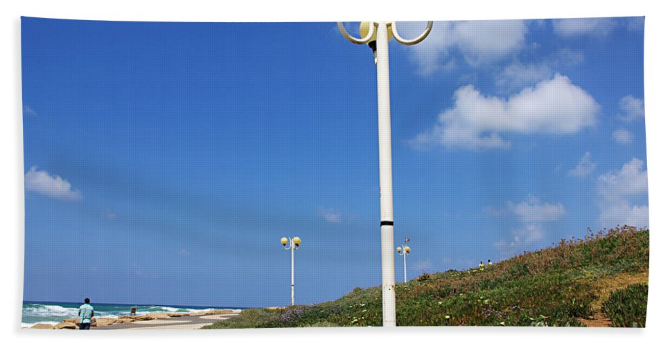 Tel Aviv Hand Towel featuring the photograph walkway along the Tel Aviv beach by Zal Latzkovich