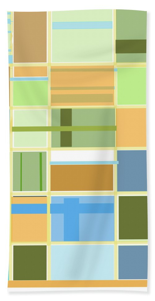 Patterns Abstract Blues Greens Squares Hand Towel featuring the digital art We Are Connected by Suzanne Udell Levinger